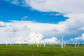 Wind turbines in a sunny field Stock Images
