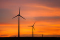 Wind turbines during sunset Royalty Free Stock Image