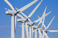 Wind turbines in windfarm Royalty Free Stock Photo