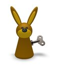 Wind up bunny rabbit token with key on white background d illustration Stock Photos