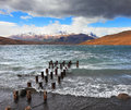 The wind and waves at the laguna azul boat dock on lake storm clouds national park torres del paine in patagonia chile Royalty Free Stock Image