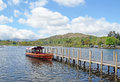 Windermere boat at jetty on lake cumbria uk Royalty Free Stock Photo