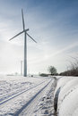 Windfarm green energy in winter Royalty Free Stock Images