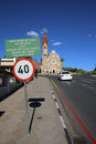 Windhoek christuskirche view from peter mueller street to christians church it is windhoeks landmark a police car in front namibia Stock Image