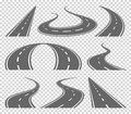 Winding curved road or highway with markings. Direction, transportation set. Vector illustration