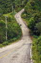 Winding curved rural road to mountain Royalty Free Stock Image