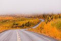 Winding golden fall taiga road yukon canada north klondike highway through autumn gold colored boreal forest countryside with low Stock Image