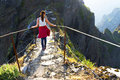 The winding mountain trekking path at Pico do Areeiro, Madeira, Portugal Royalty Free Stock Photo