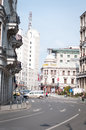 Winding old street of calea victoriei with and new beautiful buildings Royalty Free Stock Photo