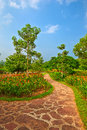 The winding path flowers image taken in china s yunnan province xishuangbanna prefecture,tropical botanical garden Stock Photos