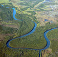 Winding river aerial view