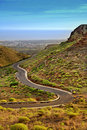 Winding road in Canary mountains Royalty Free Stock Photo