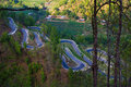 Winding road curves and bends on the in kalitar nepal Royalty Free Stock Images