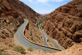 Winding road through Dades gorge Stock Images
