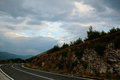 Dangerous winding road in the Carpathian mountains