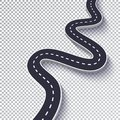 Winding Road Isolated Transparent Special Effect. Road way location infographic template. EPS 10