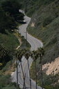 Winding road a lonely two lane winds around the mountains in santa barbara Stock Image