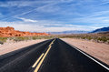 A winding road nevada through the valley of fire state park Stock Images