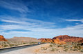 A winding road nevada through the valley of fire state park Stock Photo
