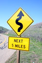 Winding road sign Royalty Free Stock Photo