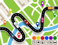 Winding road with signs. City map. Movement of vehicles. The path specifies the navigator. illustration