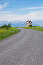 Winding road to ruins of former pakri lighthouse estonia Stock Images