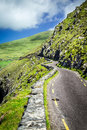 Winding road to slea head around dingle peninsula ireland the beautiful green drive in Royalty Free Stock Photography