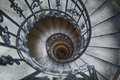 Winding staircase straight down view of a Royalty Free Stock Images