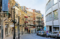 The winding street brussels belgium june beautiful line up of facades on rue lebeau that runs between place du grand sablon and Royalty Free Stock Image