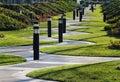 Winding zigzag walkway in a park, Madrid, Spain Royalty Free Stock Photo