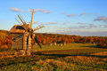 Windmill at Autumn Landscape Stock Image