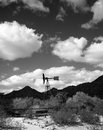 Windmill black and white central arizona desert Royalty Free Stock Images