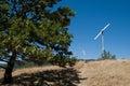 Windmill blades raticosa passage florence bolonia apennines Stock Image