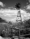 Windmill in the central arizona mountains black and white Royalty Free Stock Photography