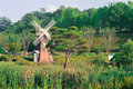 Windmill in a country park Royalty Free Stock Photo