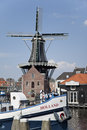 Windmill de adriaan haarlem the netherlands is a in that burnt down in and was rebuilt in original dates from and mill Stock Photos