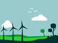 Windmill field and environment vector illustration Stock Image