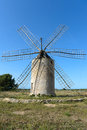 Windmill in formentera simon made out of whitewashed rubblework the top floor for machinery and the grindstone the first Royalty Free Stock Image