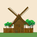 Windmill and garden cartoon illustration of a Royalty Free Stock Images