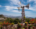 Windmill Garden Mountain View in Crete, Greece Royalty Free Stock Photo