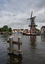 Windmill in haarlem old netherlands Royalty Free Stock Photo