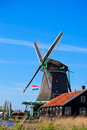 Windmill in holland zaanse schans the netherlands Royalty Free Stock Image