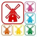 Windmill icons set Royalty Free Stock Photo