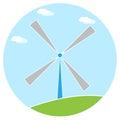 Windmill illustration blue sky green grass white background