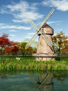 Windmill this image shows a in fall Stock Photography