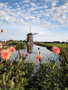 Windmill landscape in Holland Royalty Free Stock Photo
