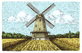 Windmill landscape in vintage, retro hand drawn or engraved style, can be use for bakery logo, wheat field with old