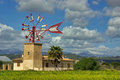 Windmill in majorca typical landscape of with an ancient mediterranean Stock Photo