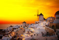 Windmill of Oia at sunset, Santorini Royalty Free Stock Photo