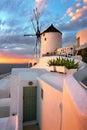 Windmill in Oia Village in the Evening, Santorini, Greece